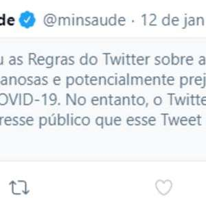Twitter aponta publicação da Saúde sobre como 'enganosa'