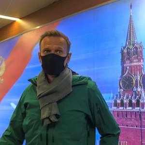 Polícia russa Alexei Navalny na chegada ao aeroporto