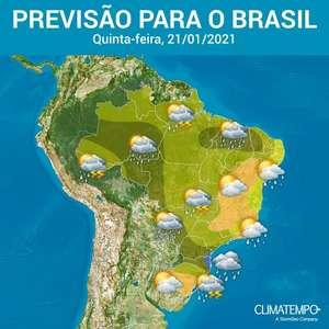 Chuva volumosa no Norte, Centro-Oeste e Sul do Brasil