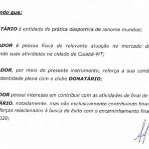 Contrato de doação de torcedor do Internacional não cita Rodinei e dá outra justificativa; L! teve acesso