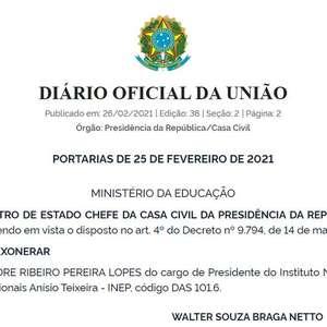 Presidente do Inep, Alexandre Lopes é exonerado