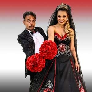 Estilista cria vestido para noiva torcedora do Flamengo