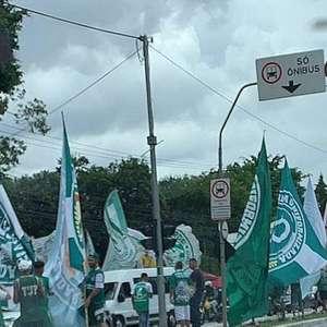 Torcedores se aglomeram para apoiar o Palmeiras antes de ...