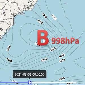 Ciclone atua no mar próximo ao Sul do BR neste fim de semana