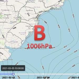 Ciclone atua próximo ao Sul do Brasil