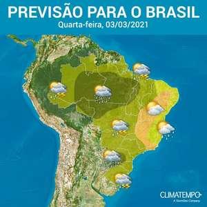 Chuva é volumosa no Norte e no Sul do Brasil
