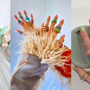 Anéis coloridos e divertidos são os acessórios do momento. Inspire-se!