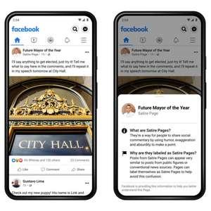 Facebook coloca aviso de sátira em posts no feed de notícias