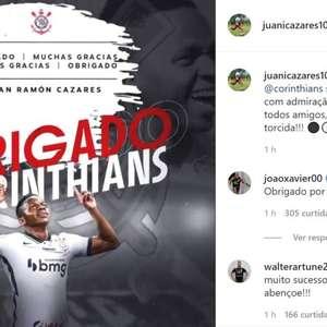 """Cazares se despede do Corinthians: """"Admiração ainda maior"""""""
