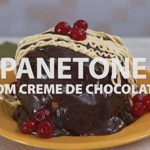 Panetone com creme de chocolate
