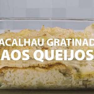 Bacalhau gratinado com molho de queijos