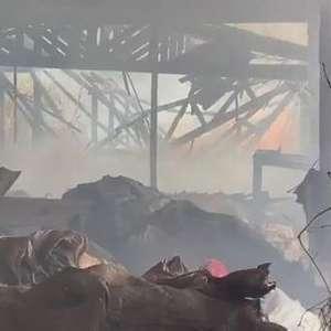 Incêndio de grandes proporções destrói depósito de madeiras no Cancelli