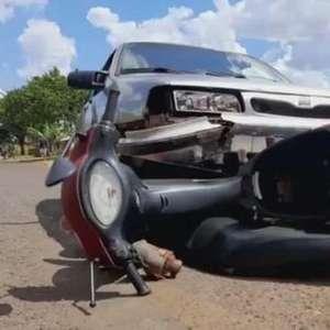 Mulher fica ferida em acidente de trânsito na Rua Bem-Te-Vi