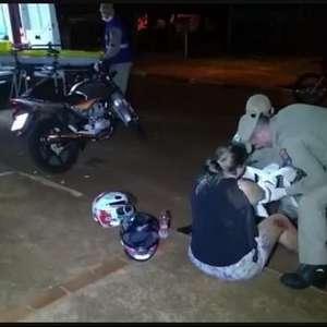 Queda de moto no Bairro Santa Clara 4 em Toledo deixa dois feridos