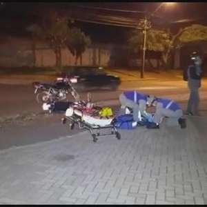 Motociclista fica ferido em acidente na Avenida Piquiri em Cascavel