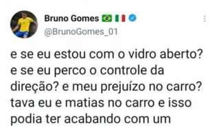 Grupo de torcedores atira pedras no carro de Bruno Gomes, do Vasco