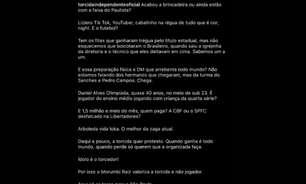 Torcida organizada do São Paulo protesta nas redes sociais
