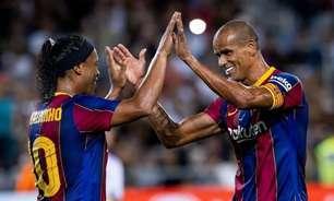 Ronaldinho marca, mas Barcelona perde para o Real Madrid em amistoso de lendas