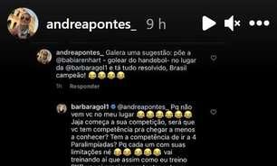 Titular da Seleção nos Jogos, goleira Bárbara discute com atleta paraolímpica no Instagram