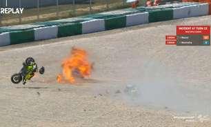 Acidente entre Manzi e Montella causa explosão em etapa da Moto2 em Portugal