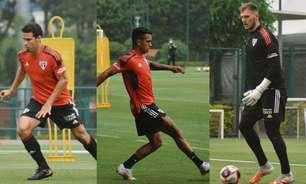 Hernanes, Igor Vinícius e Lucas Perri treinam com os titulares do São Paulo