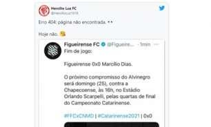 Figueirense faz post celebrando classificação no Estadual, acaba eliminado e rivais tiram onda
