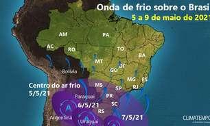 Nova onda de frio se espalha sobre o Brasil e Sul terá geada