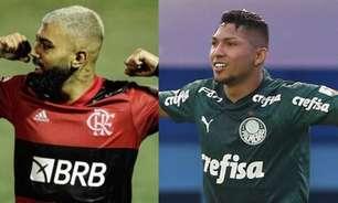 """Gabigol ou Rony? Jornalista aponta que atacante do Flamengo está """"muito acima"""" do palmeirense"""