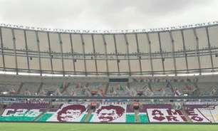 Torcida do Fluminense prepara mosaico de carrascos do Flamengo antes de final do Carioca
