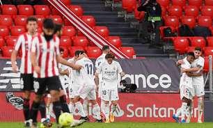 Real Madrid vence o Athletic Bilbao e segue atrás do título