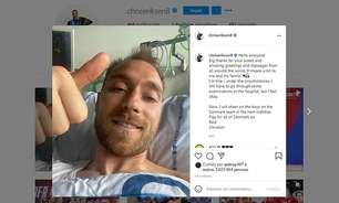 Eriksen posta foto no hospital, agradece carinho após mal súbito e avisa: 'Me sinto bem'