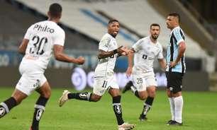 Marinho comemora gol pelo Santos sobre o Grêmio: 'É bom marcar contra o ex'
