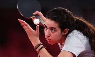 Com 12 anos, atleta mais jovem é eliminada no tênis de mesa
