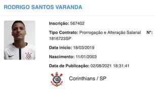 Renovação de Rodrigo Varanda com o Corinthians é publicada no BID