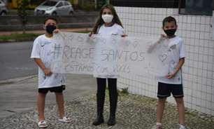 Em má fase, jogadores do Santos recebem apoio de crianças: 'Estamos com vocês'