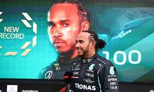 """Hamilton descreve marca singular de 100 vitórias na Fórmula 1 como """"momento mágico"""""""