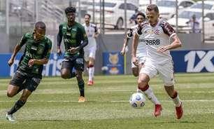 Flamengo esbarra outra vez em oscilações e, diante do América-MG, vê dois pontos escaparem