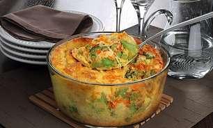 Segunda Sem Carne com suflê de cenoura e brócolis