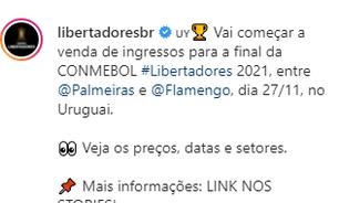 """Dudu reclama do preço do ingresso da final da Libertadores: """"Tem que ser mais barato"""""""