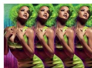 Rihanna surge com cabelo verde em campanha de maquiagem