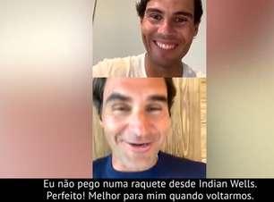 """Durante live, Federer brinca com a falta de treinos de Nadal: """"Perfeito! Assim não vai saber jogar quando voltarmos"""""""