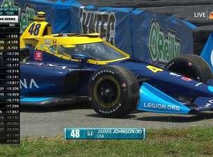Johnson escapa na última curva e causa primeira bandeira amarela da Indy em St. Pete