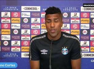"""GRÊMIO: Cortez comenta reencontro com Lanús quatro anos depois da decisão da Libertadores: """"Fomos felizes aqui conquistando o título, mas agora o objetivo é outro"""""""