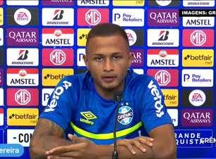"""GRÊMIO: Léo Pereira garante se sentir bem jogando tanto pela esquerda quanto pela direita e destaca sua qualidade como marcador: """"Na base eu joguei como lateral"""""""