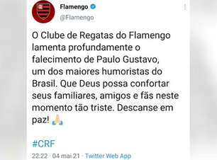 MORTE DE PAULO GUSTAVO: Clubes lamentam falecimento do artista por complicações da Covid