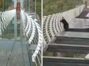 Turista fica preso a 100 metros de altura após ventania quebrar ponte de vidro