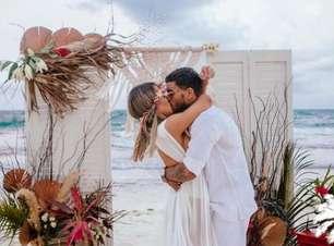 Fotos revelam alegria de MC Kevin ao casar em praia mexicana