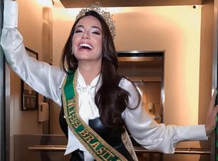 Miss Brasil aposta no preto e branco com macacão e camisa