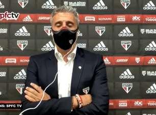 """SÃO PAULO: Crespo defende que clube brigará na parte de cima da tabela, mas comenta: """"Nunca disse que somos candidato ao título"""""""