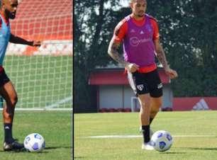 William e Luciano fazem preparação física em treino do São Paulo